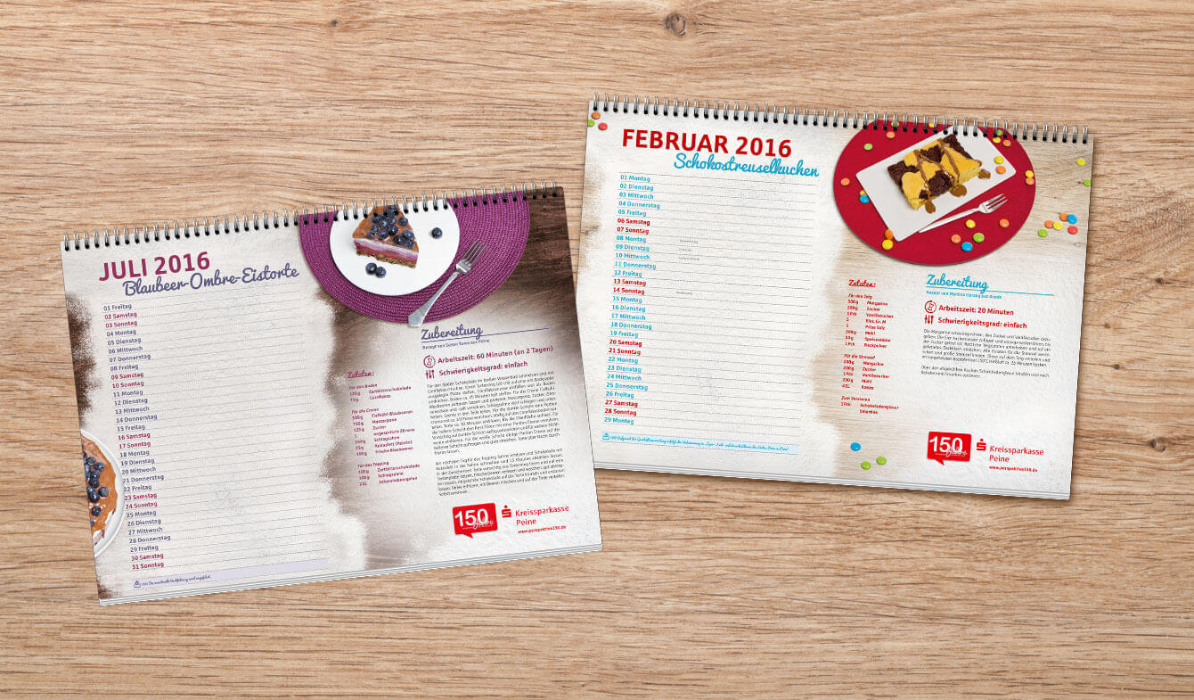 A3 Backkalender für Sparkassen