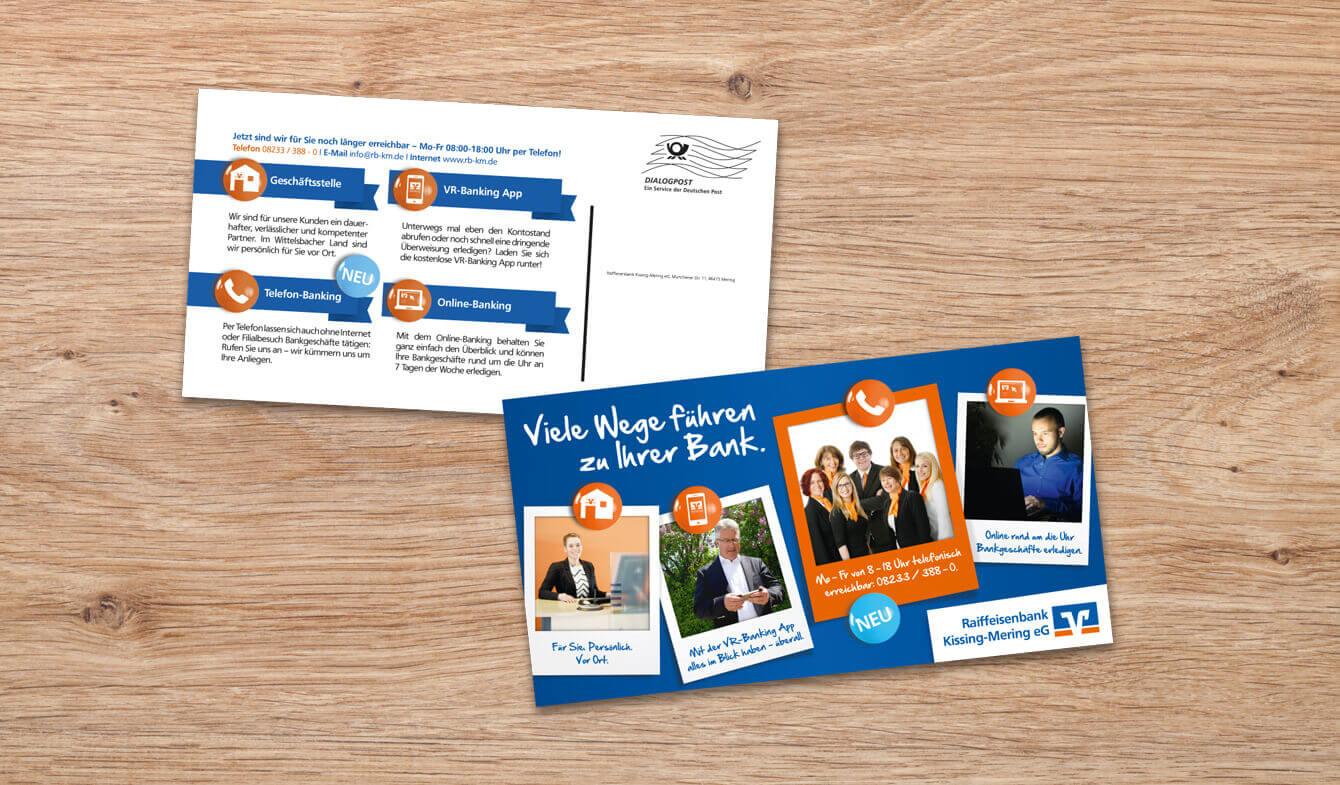 Maxi-Postkarte Volks und Raiffeisenbank  Kisseng-Mering