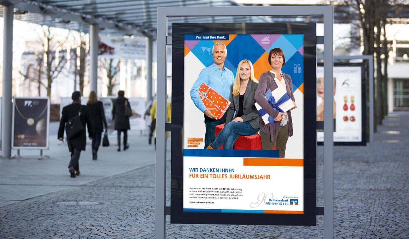 Jubiläumskampagnen Imagekampagne der Raiffeisenbank München Süd