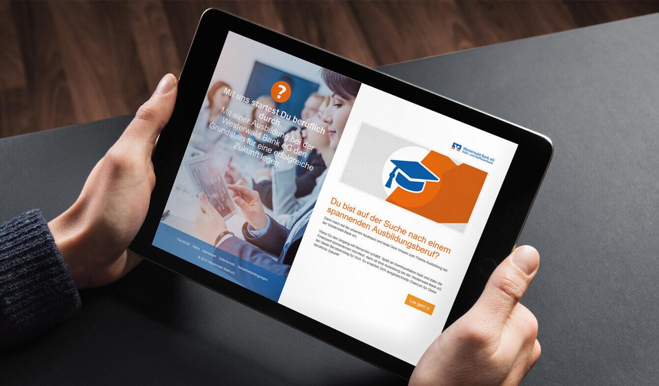 Online Azubi-Quiz: Präsentieren Sie Ihre Genossenschaftsbank mit Interessanten Fragen als attraktiven Arbeitgeber. Ideal für die Geschäftsstelle oder Ausbildungsmessen geeignet.
