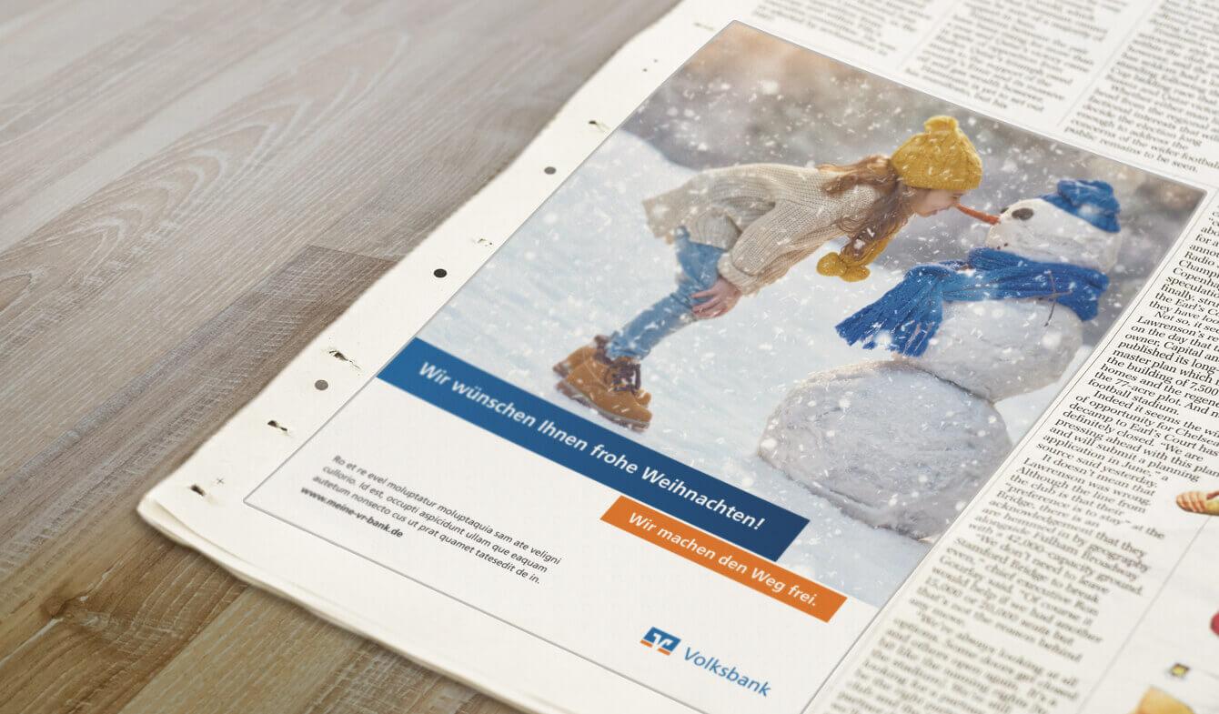 Weihnachtsanzeigen für Genossenschaftsbanken