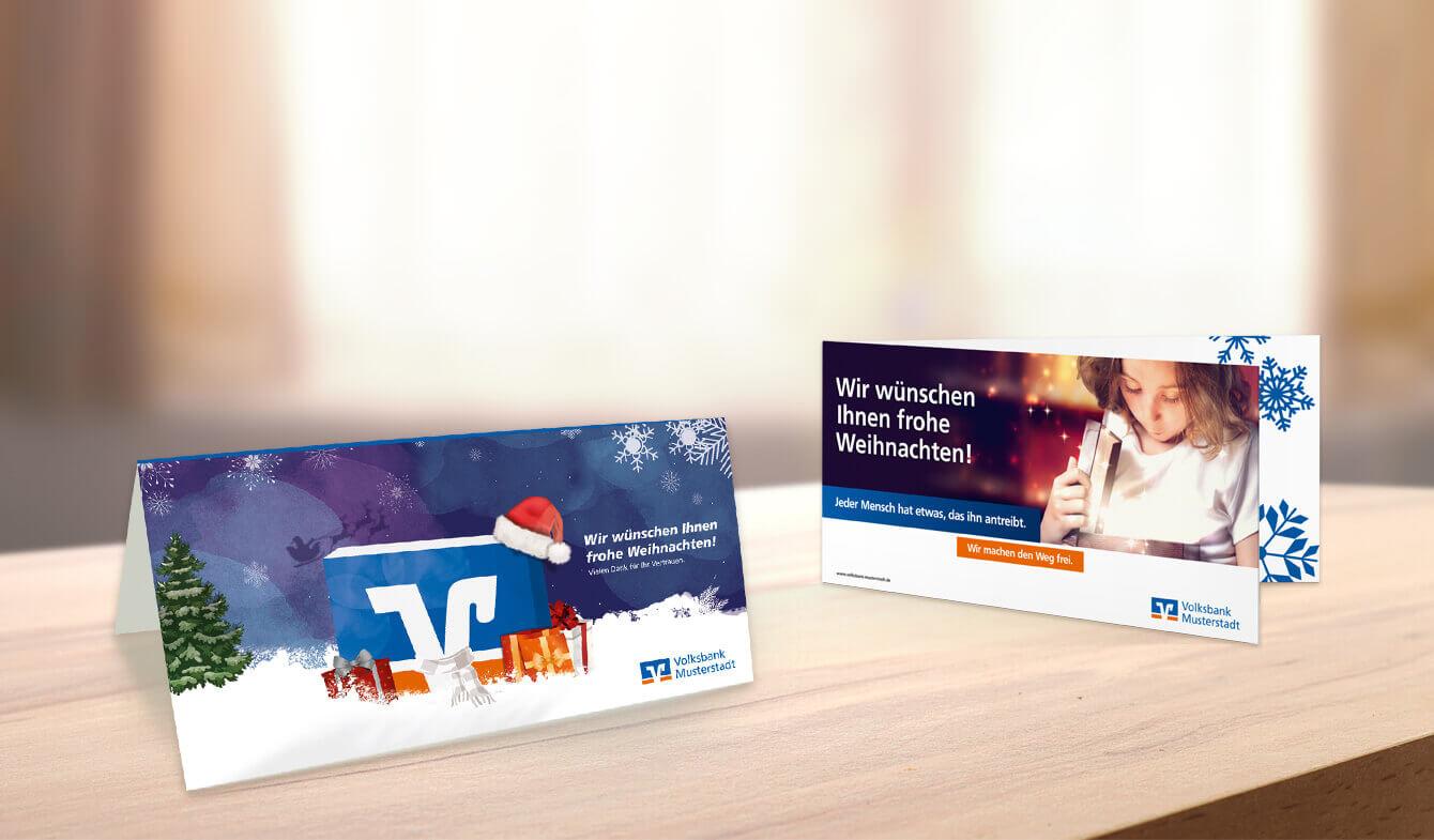 Weihnachtliche Grußkarten - für Geno Banken