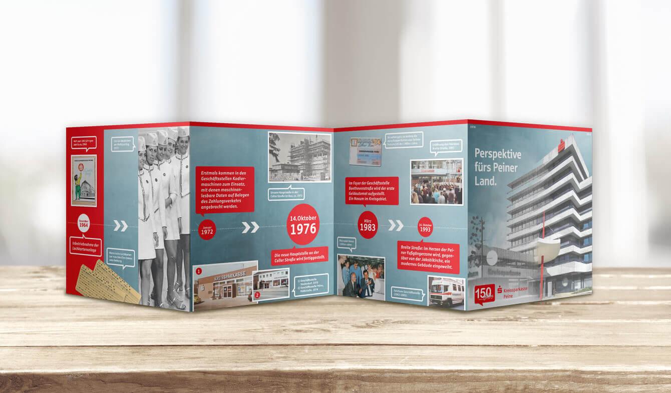 Chronik als Print-Leporello im Sparkassen-Design