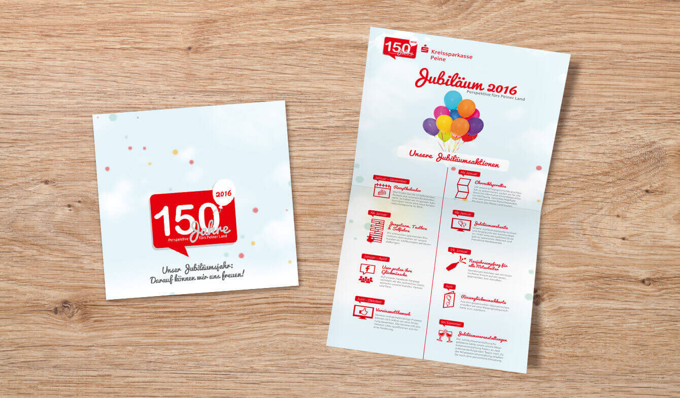 Werbemittel im Jubiläumsjahr - Folder der Kreissparkasse Peine