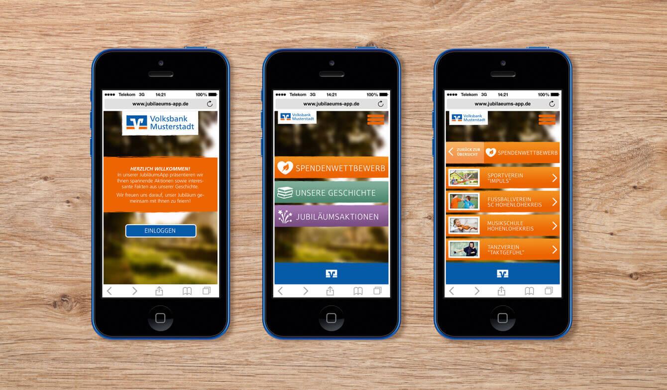 Jubiläums-App im Genobank-Design