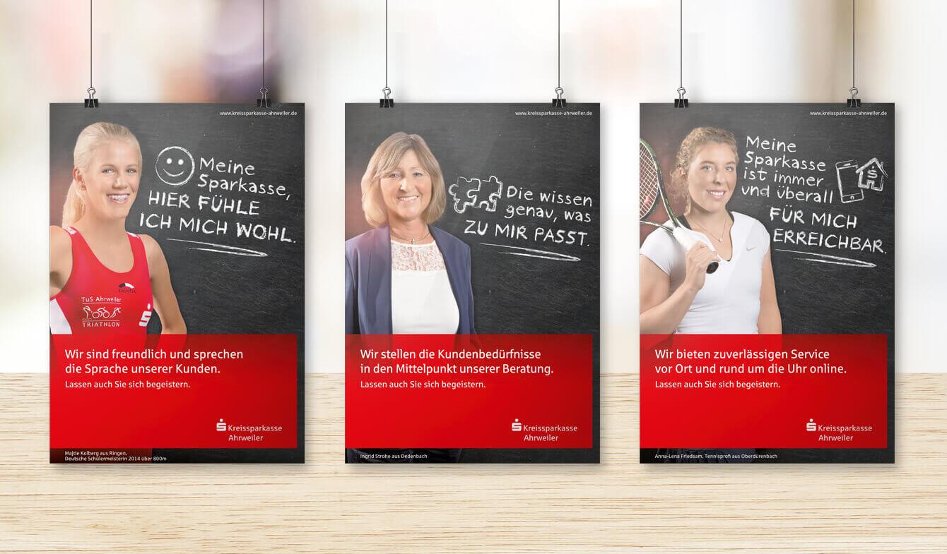Imagekampagne Beratungs- und Servicekompetenz der Kreissparkasse Ahrweiler - Plakate