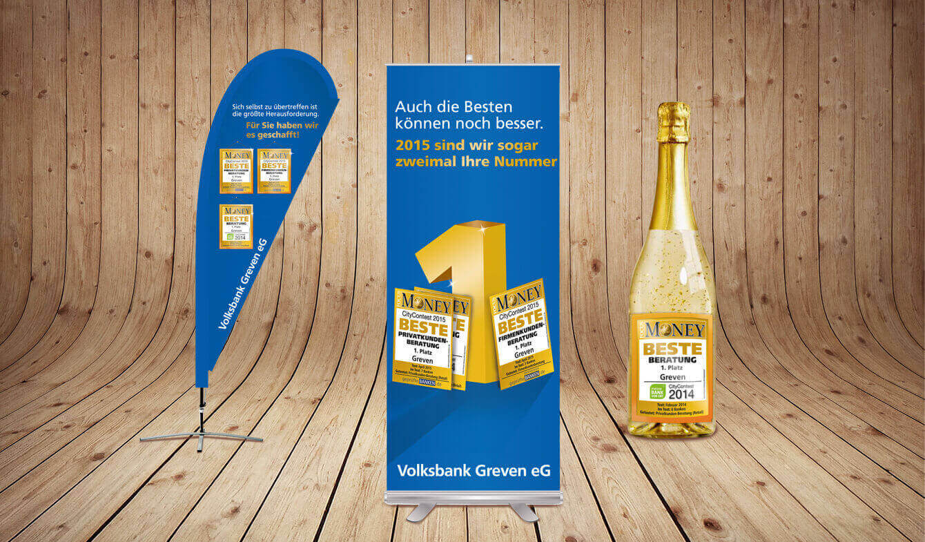 Werbemittel Beste Bank im Genobanken-Design