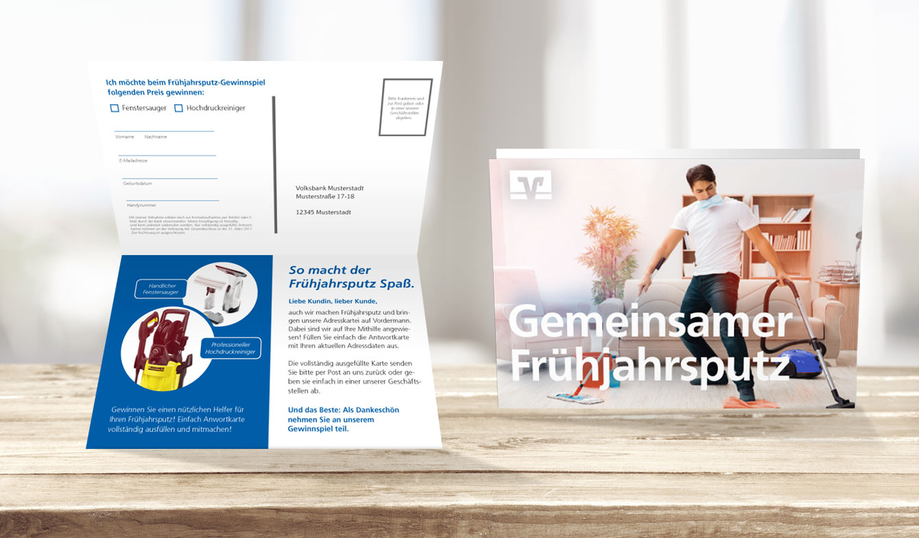 Selfmailer zur Aktualisierung Ihrer Kundendatenbank im Genobanken-Design