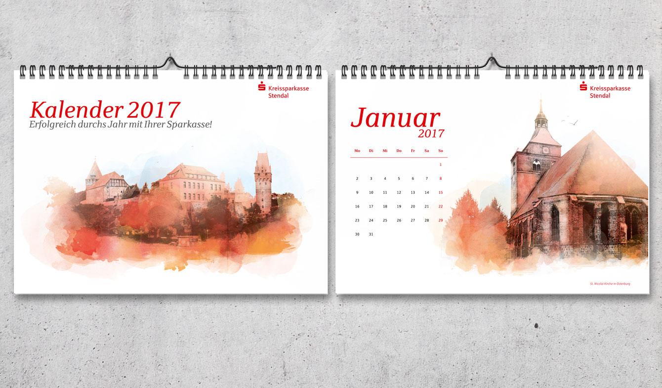 Kreissparkasse Stendal Aquarell-Wandkalender