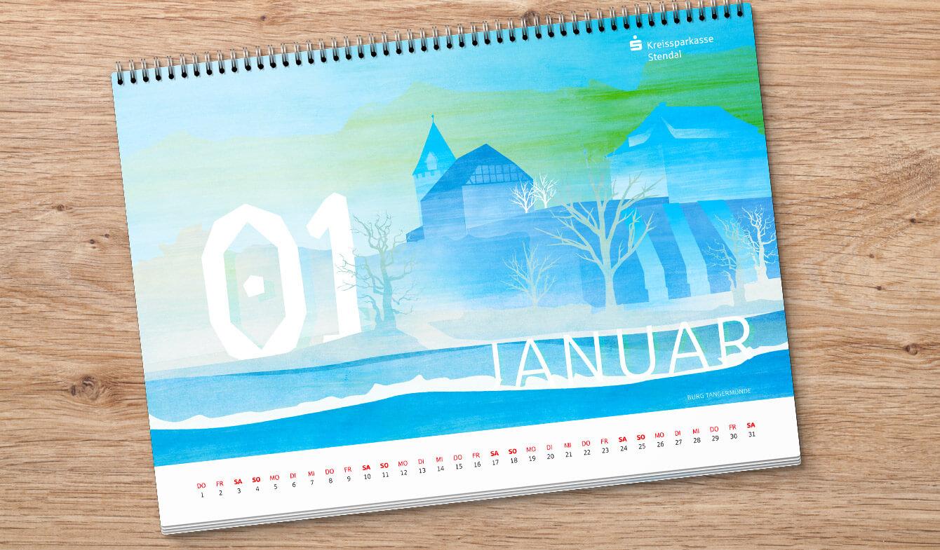 Wandkalender Regionale Ansichten im Sparkassen-Design