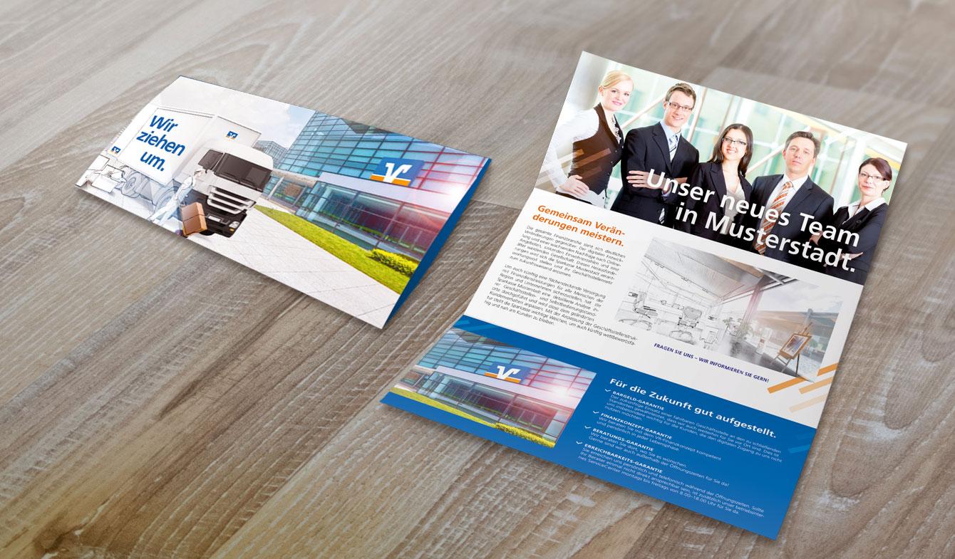 Selfmailer Geschäftsstellenschließung im Genossenschaftsbank-Design