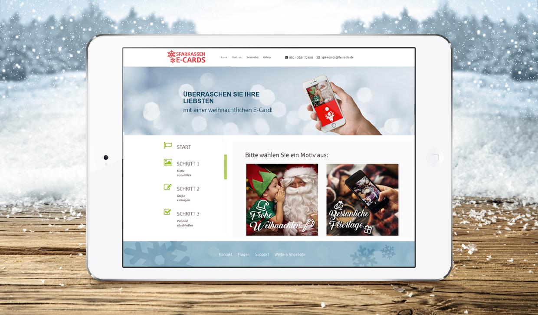 Weihnachtliche E-Cards für Sparkassen