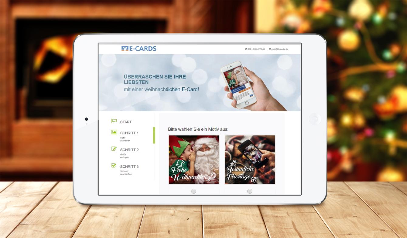 Weihnachtliche E-Cards für Volks- und Raiffeisenbanken