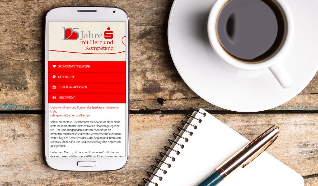 Jubiläums-App der Sparkasse Hohenlohekreis