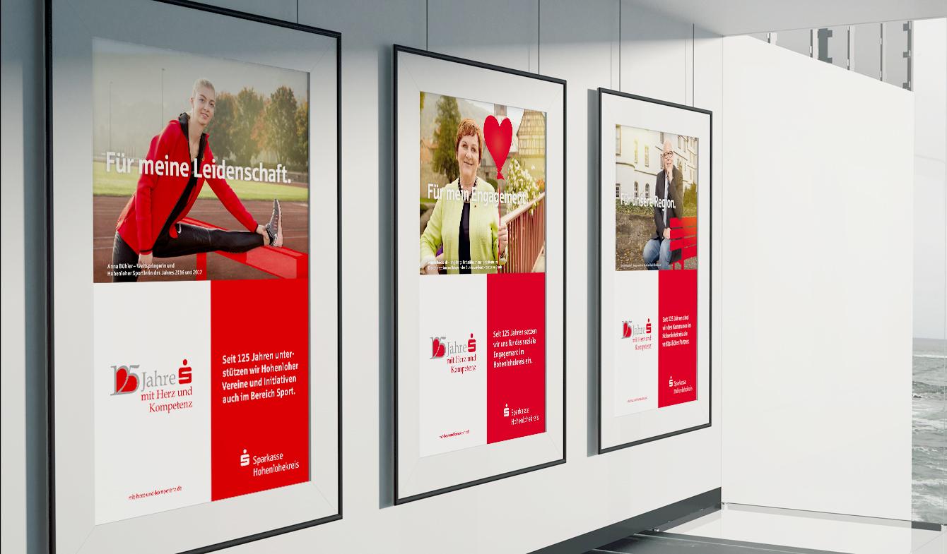 Plakate der Imagekampagne der Sparkasse Hohenlohekreis