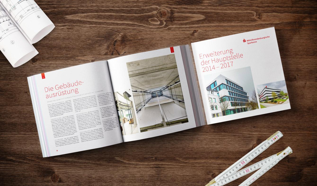 Die exklusive Informationsbroschüre zum Neubau der Hauptfiliale der Mittelbrandenburgischen Sparkasse.