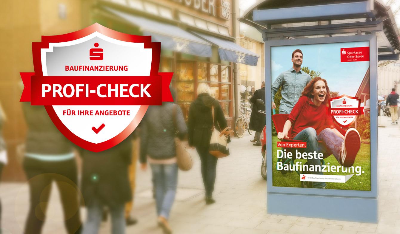 Die Plakate der Baufi-Kampagne der Sparkasse Oder-Spree