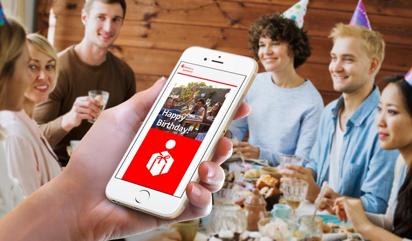 E-Card-Tool für Glückwünsche Sparkasse