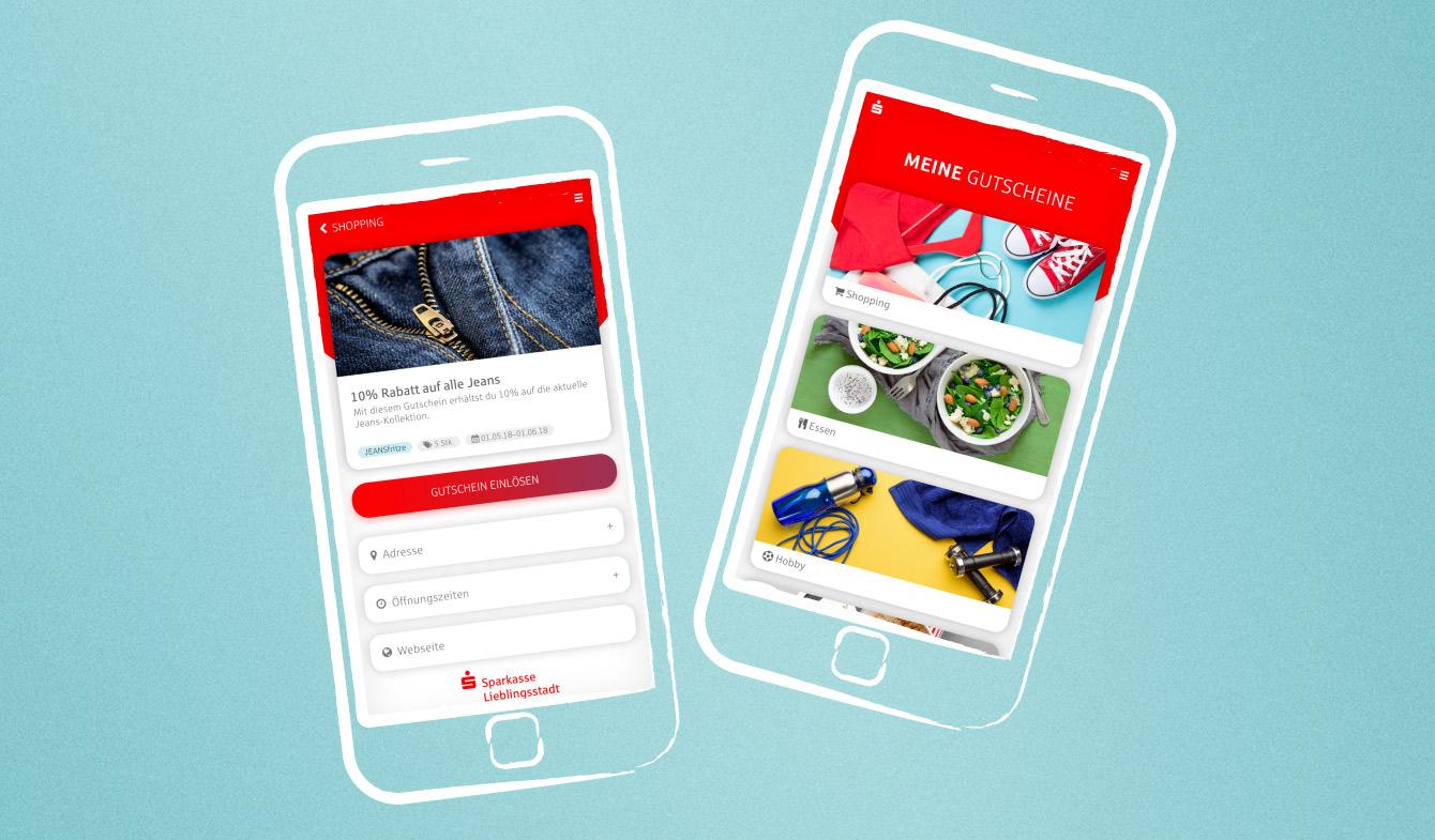 Die Gutschein-App im Sparkassen-Look