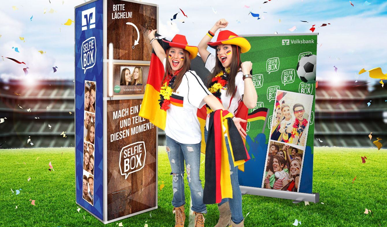 Genobank-Selfie-Box im WM-Look als Fan-Promotion