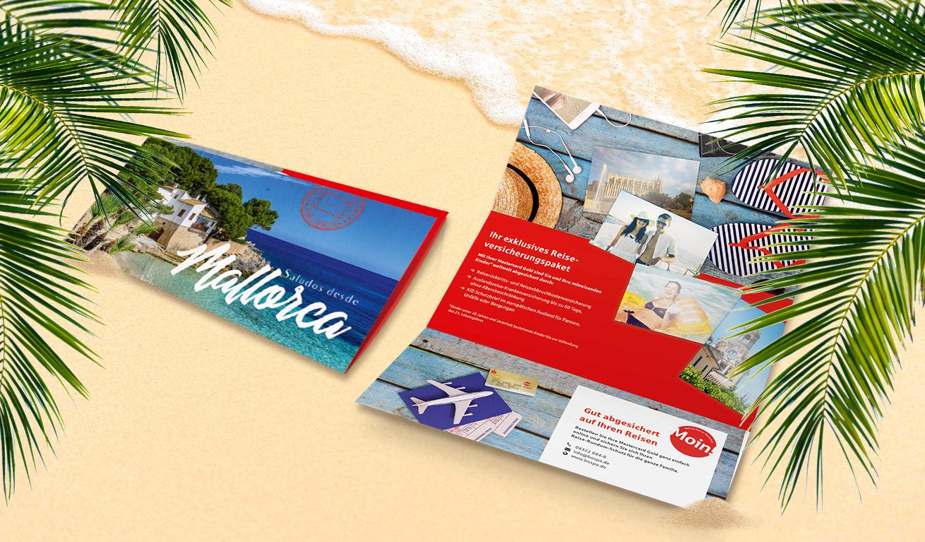 Bordesholmer Sparkasse Selfmailer Reiseversicherung Mailing