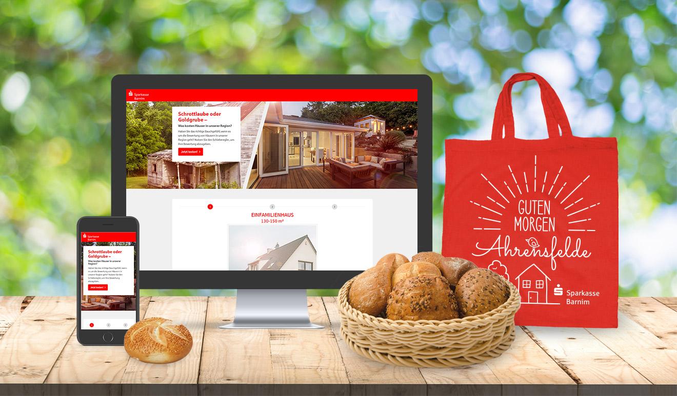 Sparkasse Barnim Immobilien-Quiz und Brötchen-Promotion