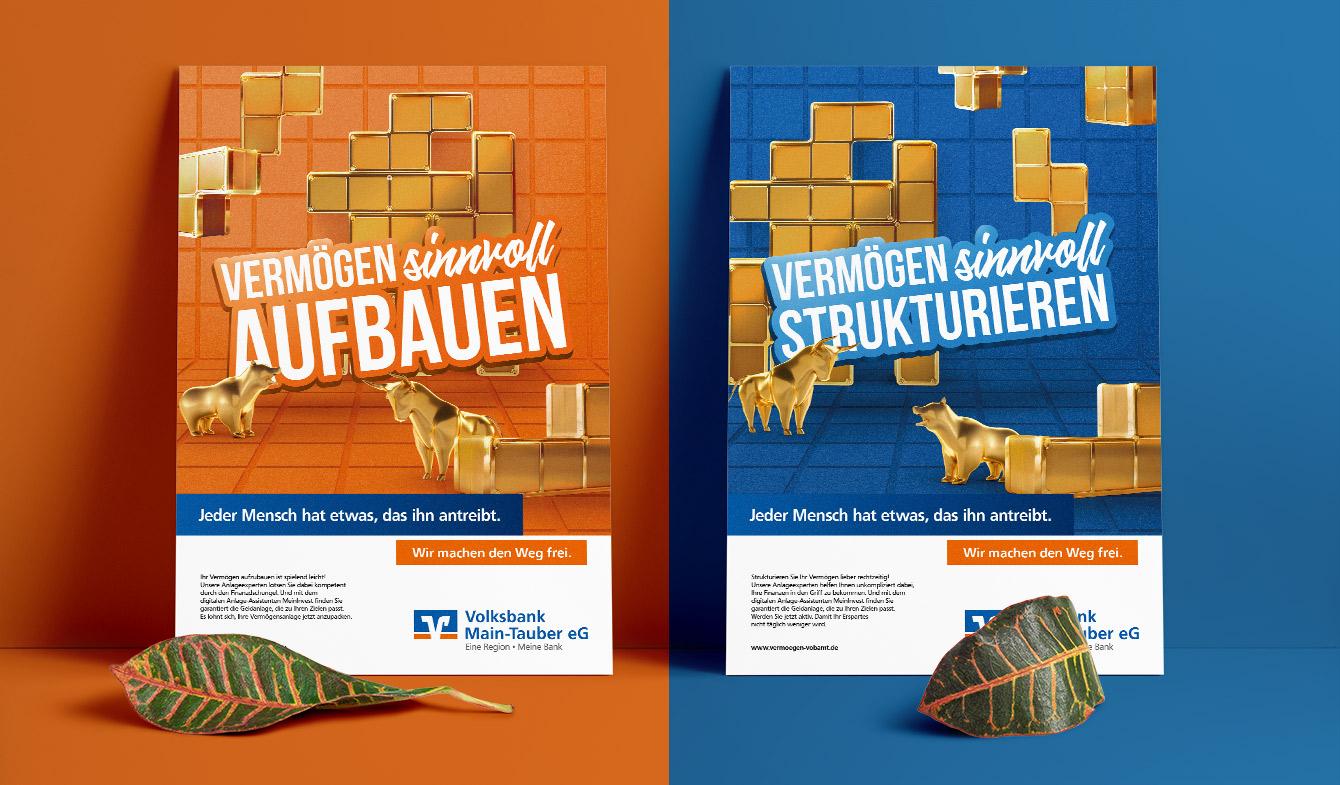 Volksbank Main-Tauber - Vertriebskampagne Tetris-Plakat
