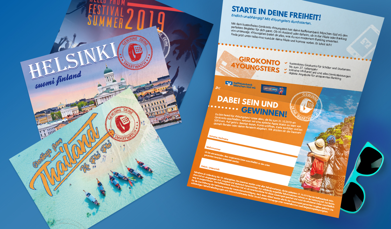 Raiffeisenbank München-Süd - Selfmailer A5 Postkartenmailing